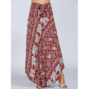 High Waisted Elephant Print Maxi African Print Skirt