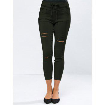 Ripped High Waisted Capri Skinny Pants - ARMY GREEN S
