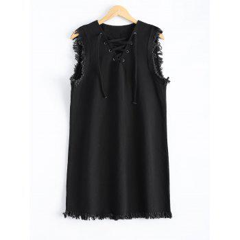V Neck Lace-Up Fringed Dress