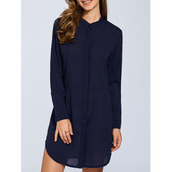 Rounded Hem Long Sleeve Shirt Dress