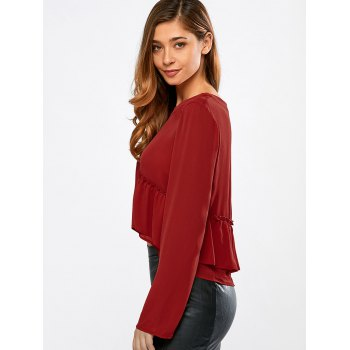 Frilly Peplum Long Sleeve Crop Top - RED M