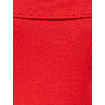 Cold Shoulder A Line Mini Dress - RED M