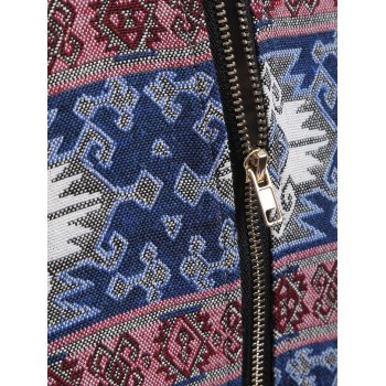 Zip Through Tribal Thin Cotton Zip Up Hoodie - COLORMIX M