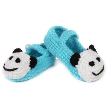 Panda Head Knit Baby Booties - LIGHT BLUE