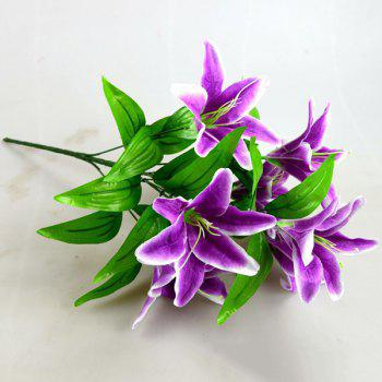 Real Touch Artificial Lily Flower Branch Home Party Decorative - PURPLE PURPLE