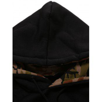 Kangaroo Pocket Camouflage Splicing Long Sleeves Hoodie - LIGHT GRAY S