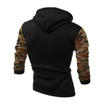 Kangaroo Pocket Camouflage Splicing Long Sleeves Hoodie - ARMY GREEN 2XL