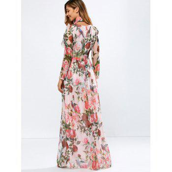 Vintage Chiffon Long Sleeve Floral Print Floor Length Maxi Prom Dress - PINK PINK