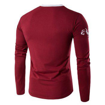 V-Neck Long Sleeve Scrawl Printed T-Shirt - WINE RED M