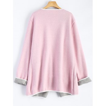 Piped Pocket Long Cardigan - PINK 2XL