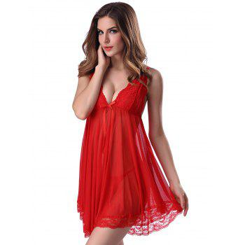 Lace Trim Sheer Deep V Neck Babydoll With Cape - RED 2XL