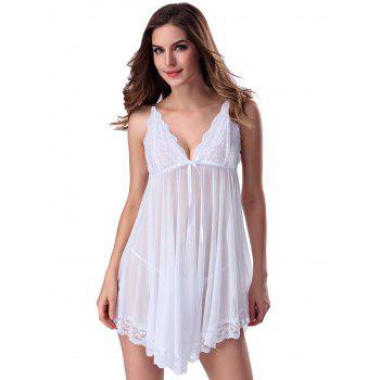 Lace Trim Sheer Deep V Neck Babydoll With Cape - WHITE S