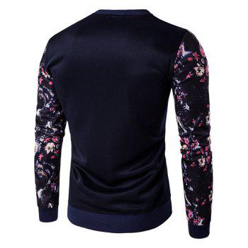 Animal Embroidery Floral Print Spliced Sweatshirt - CADETBLUE M
