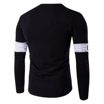 Long Sleeve Color Block Letter Printed T-Shirt - BLACK M