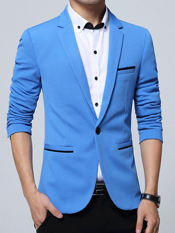 Edging Embellished Lapel One Button Business Blazer - AZURE M