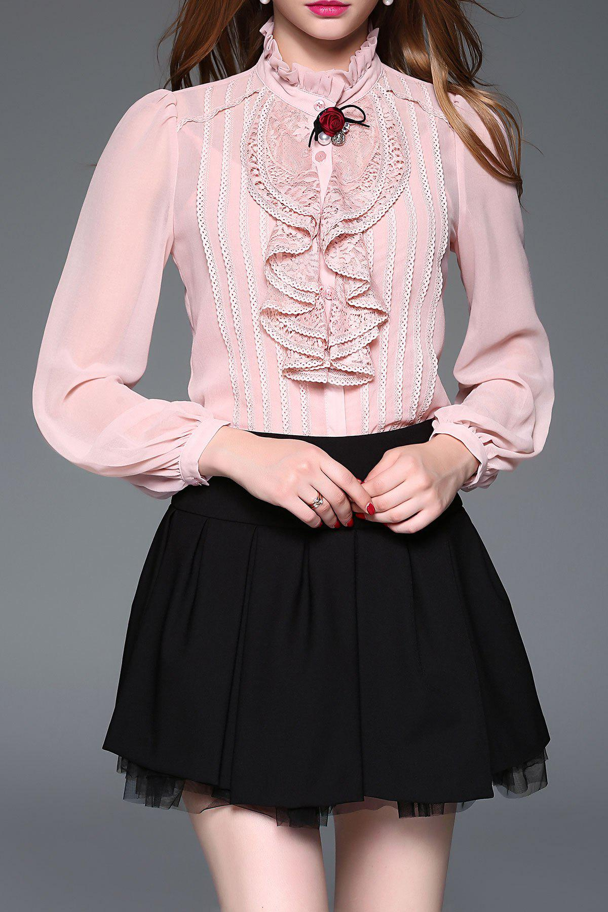 Lace Panel Ruffle Steampunk Blouse with Cami Top - PINK M