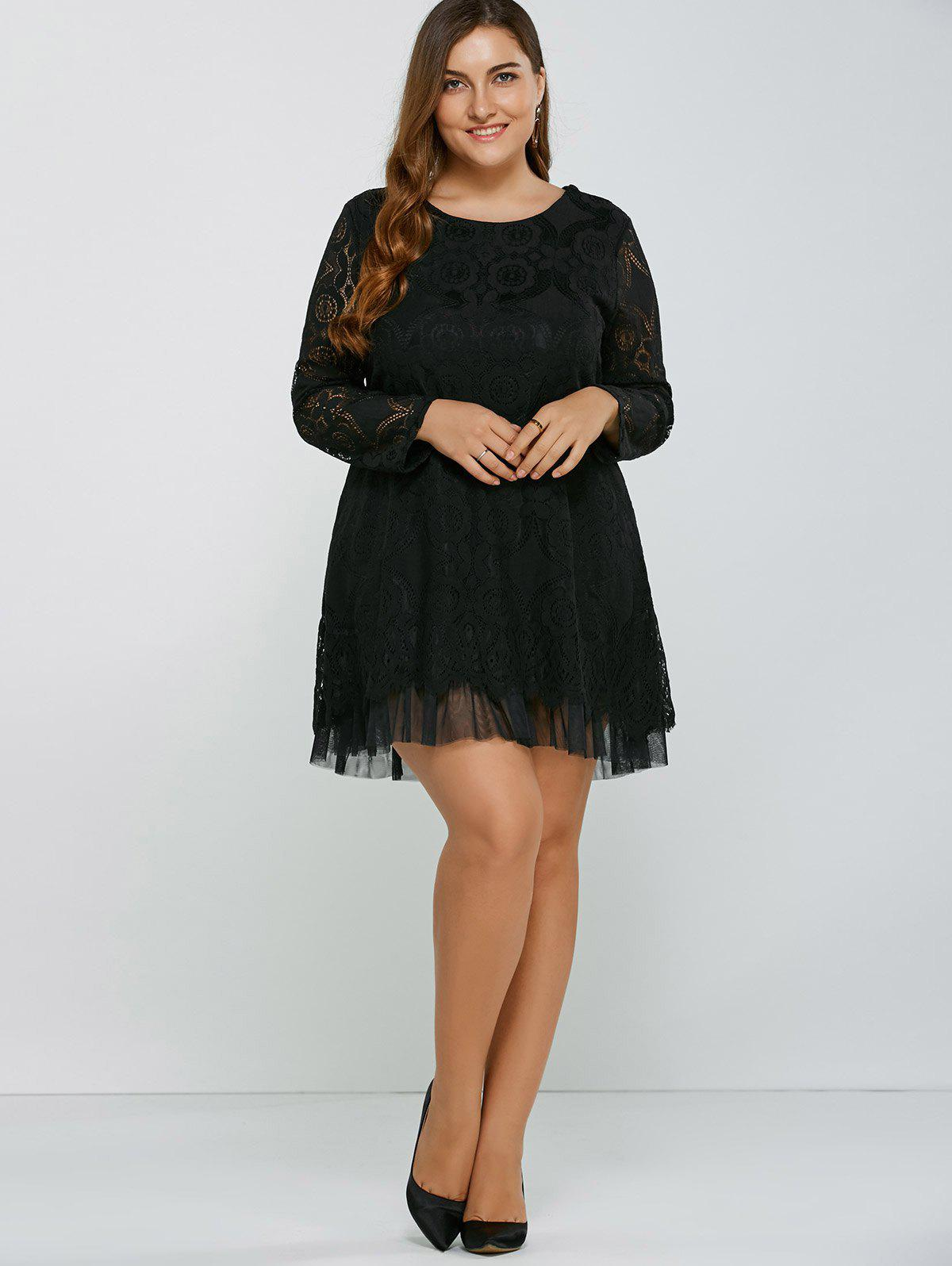 Openwork Lace A-Line Dress - BLACK XL