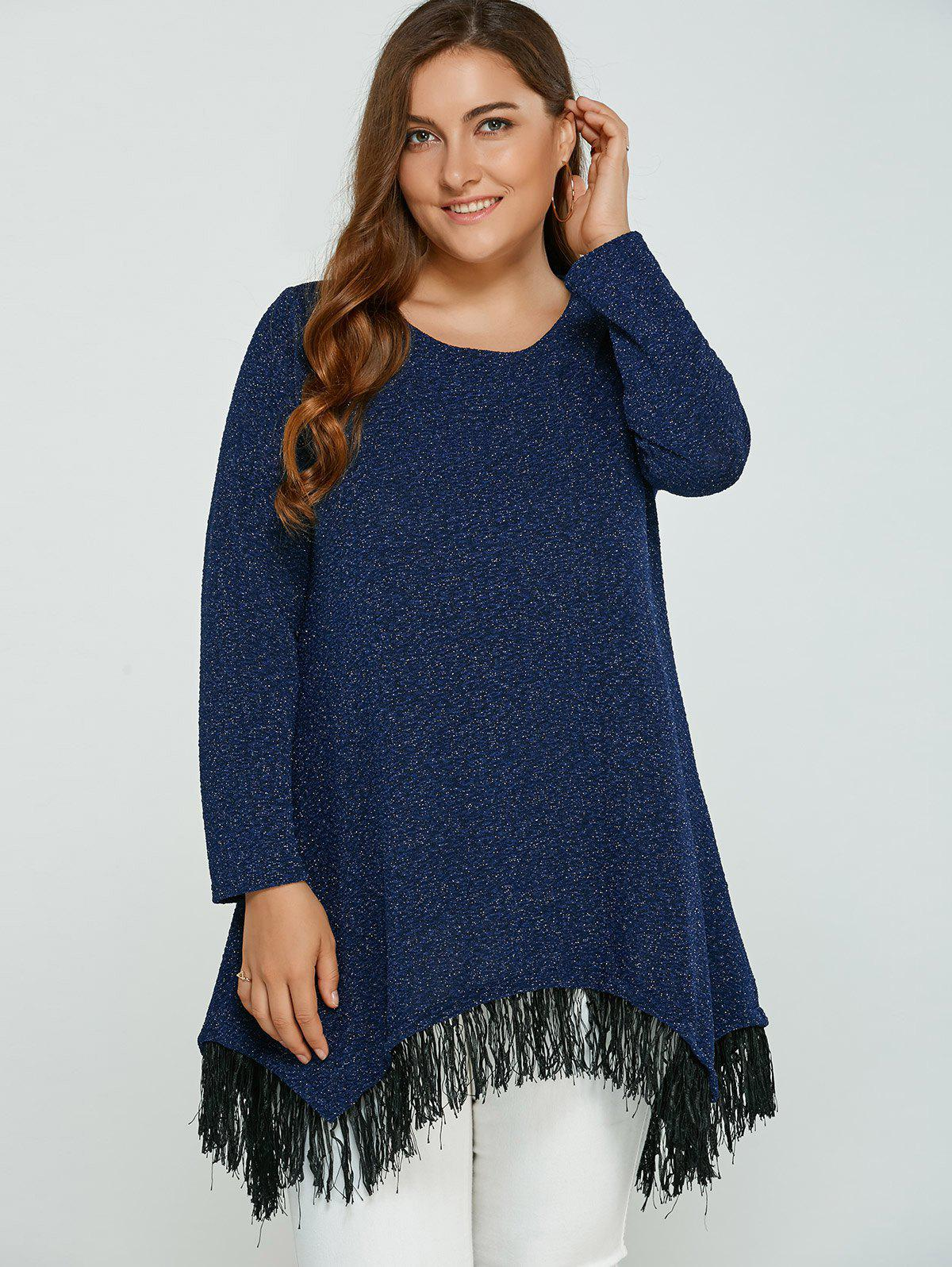 Asymmetric Gilding Fringed Blouse - BLUE 4XL