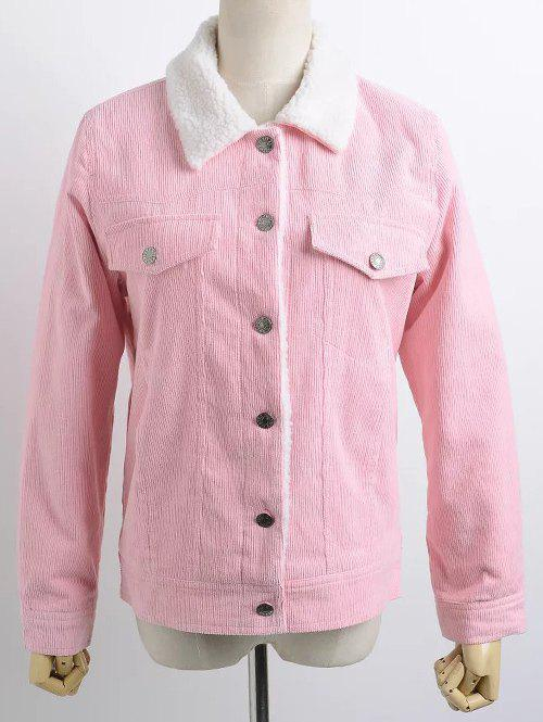 Buttoned Corduroy Shearling Jacket - PINK L