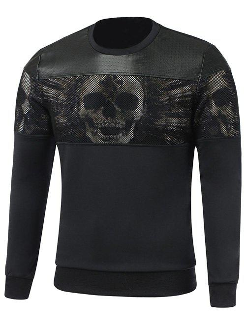 Paneled Faux Leather Insert Crew Neck Skull Sweatshirt - BLACK XL