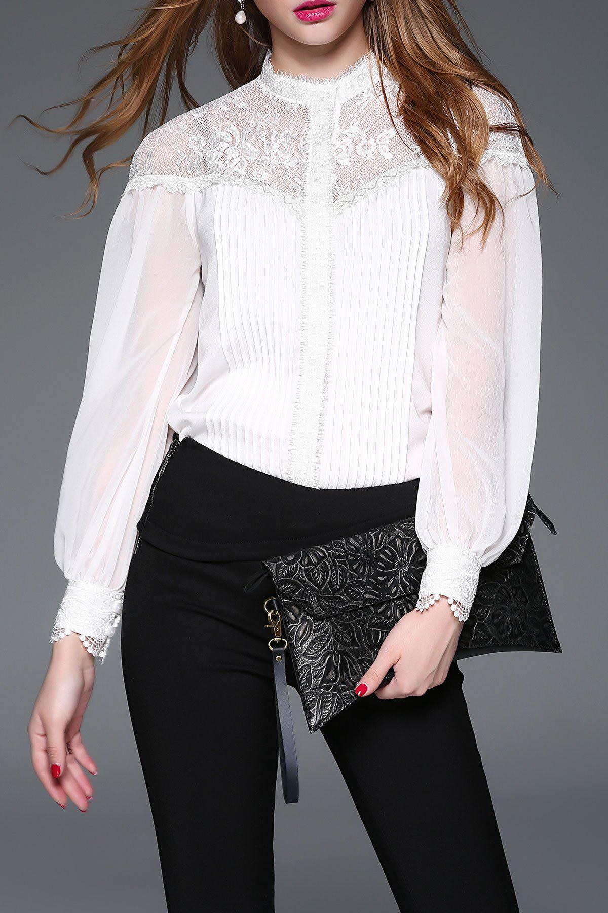 Lace Insert Pleated Blouse - WHITE L