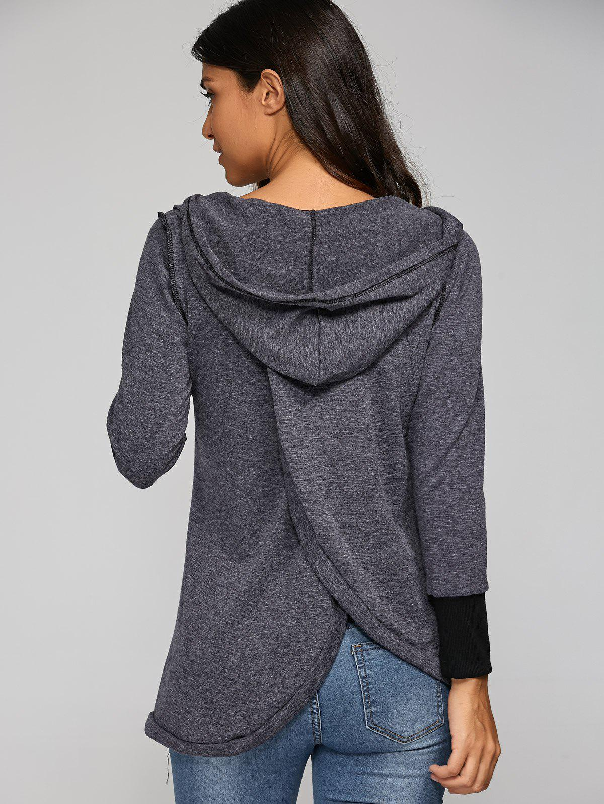 Back Cross Hooded T-Shirt - DEEP GRAY L