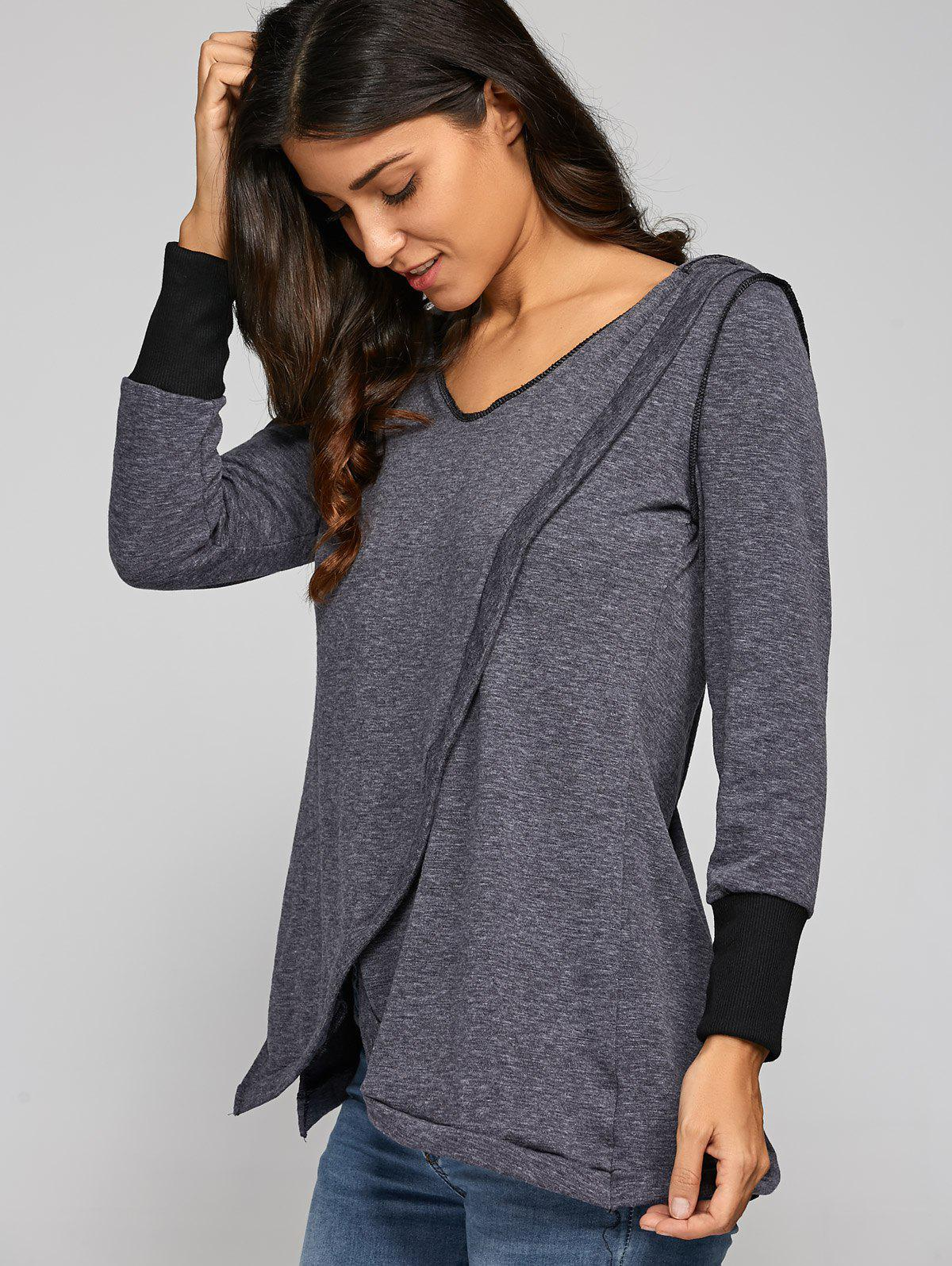 Back Cross Hooded T-Shirt - DEEP GRAY XL