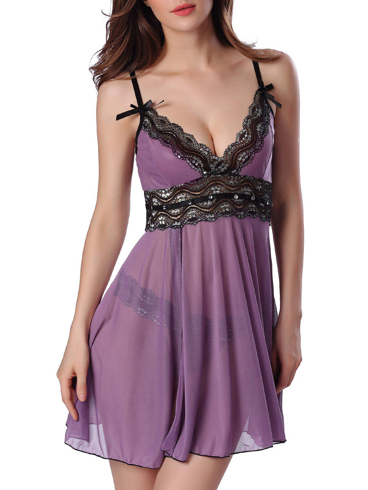 Sequined Spliced Slit Plunge Babydoll With Briefs - PURPLE S