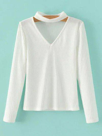 Rib Knit Choker Jumper - WHITE S