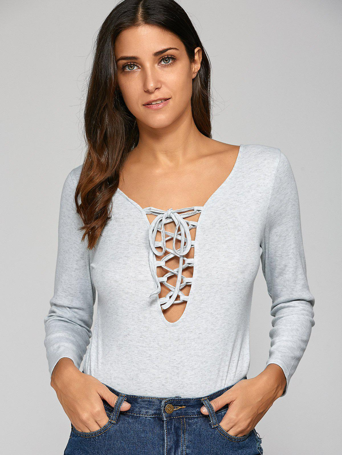 Low Cut Lace Up Bodycon Bodysuit - GRAY S