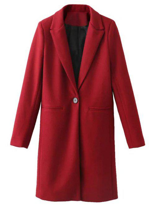 Casual Buttoned Woolen Coat - RED XS