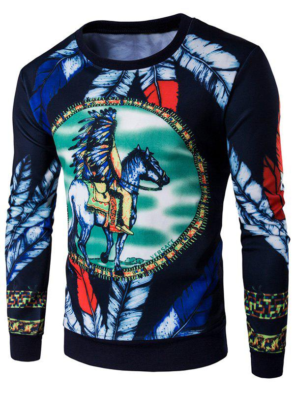 Feather Print Round Neck SweatshirtMen<br><br><br>Size: M<br>Color: CADETBLUE