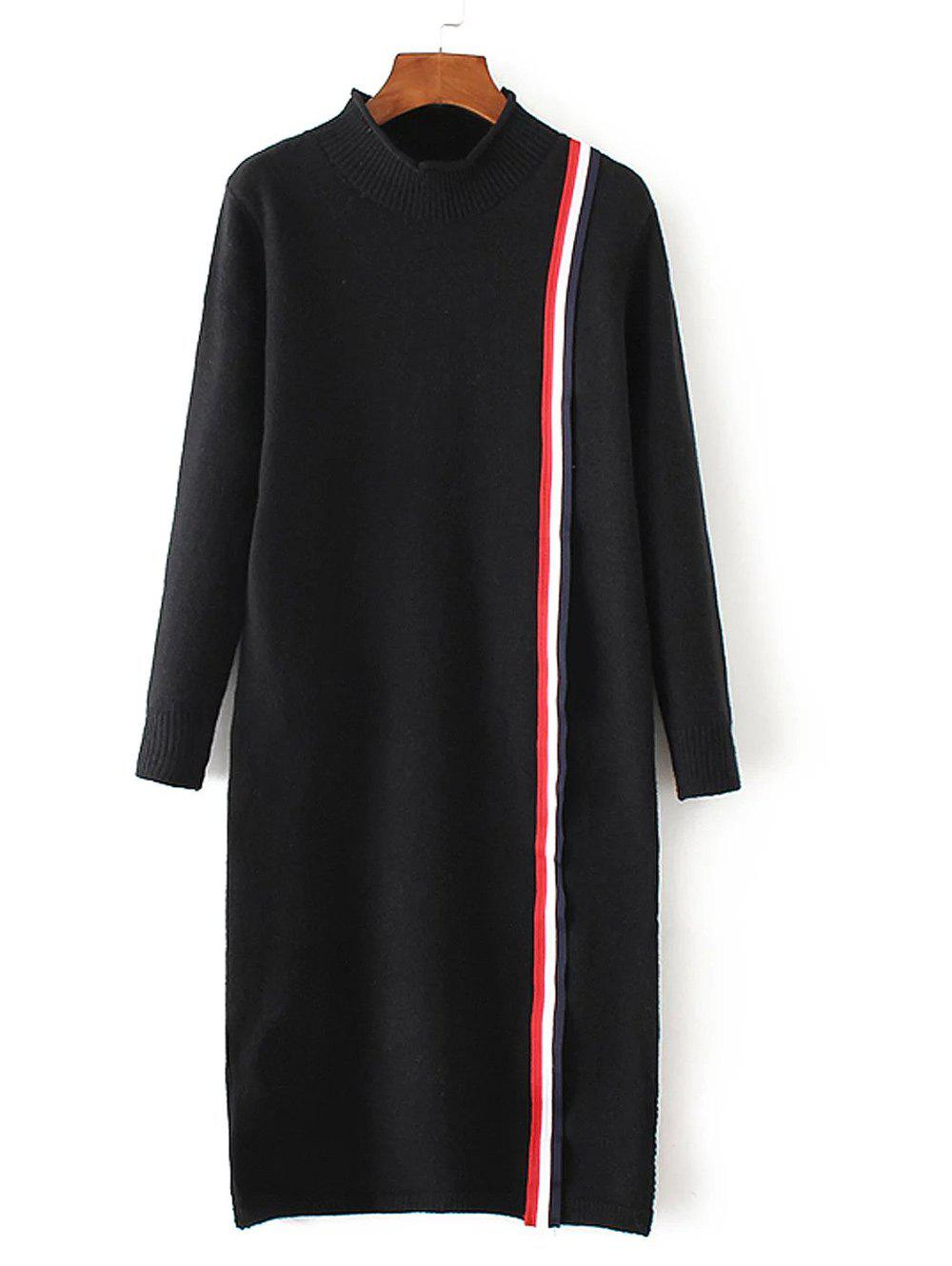 High Neck Slit Striped Sweater Dress - BLACK ONE SIZE