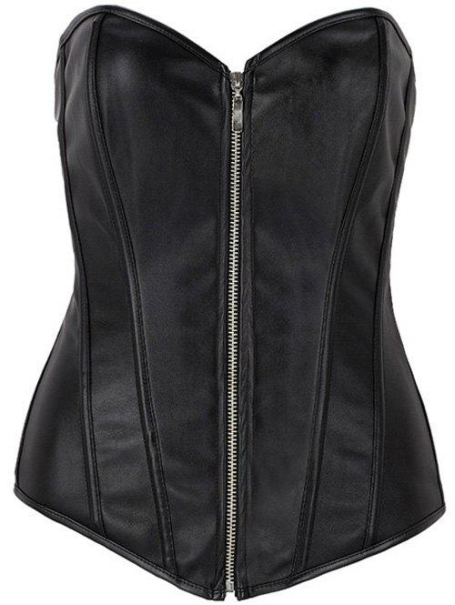 Zippered Faux cuir à lacets Corset - Noir XL
