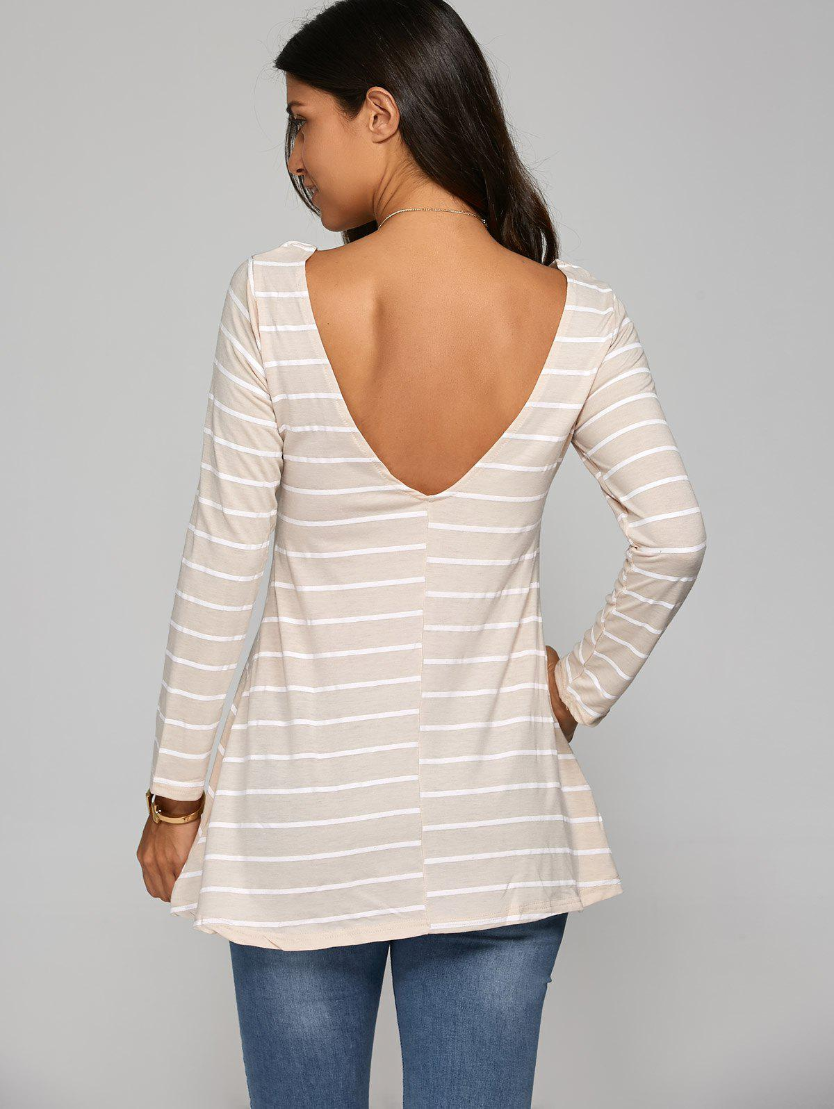 Striped Open Back T-Shirt hettich 4991 05