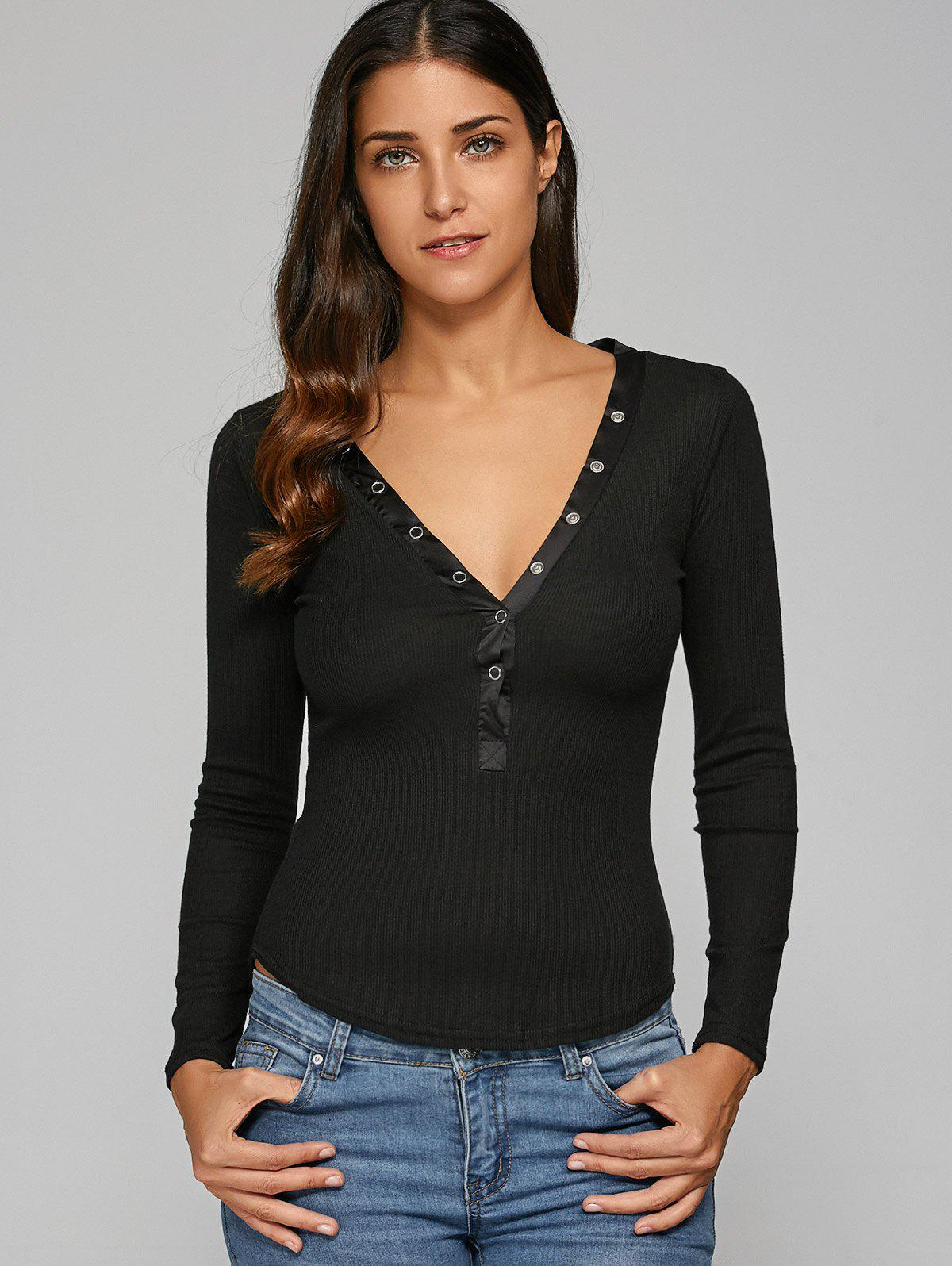 Plunging Neck Ribbed T-Shirt - BLACK XL