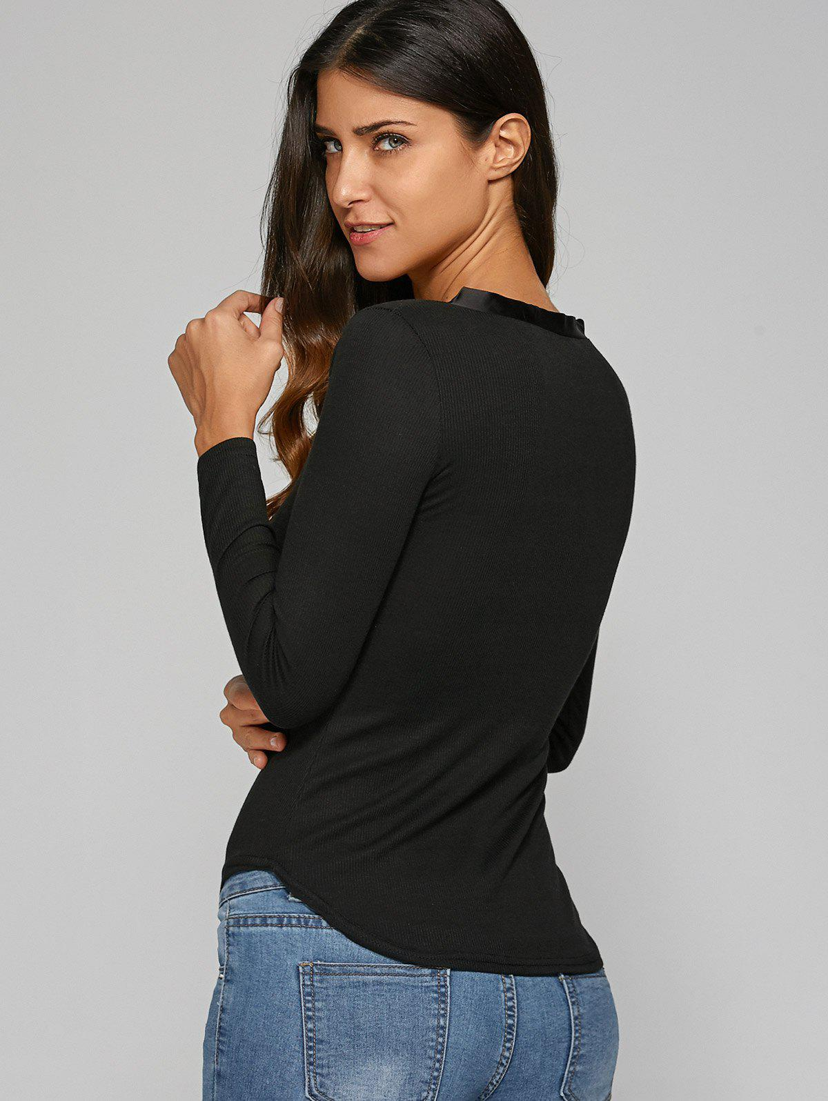 Plunging Neck Ribbed T-Shirt - BLACK S