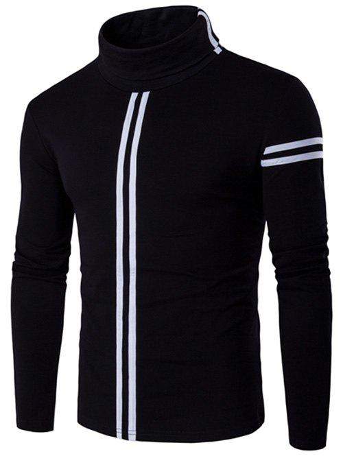 Varsity Stripe Long Sleeve Roll Neck T-Shirt - BLACK 2XL