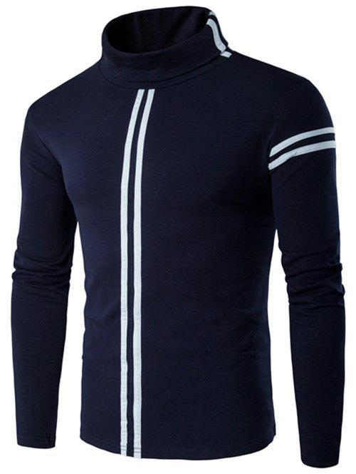 Varsity Stripe Long Sleeve Roll Neck T-Shirt - CADETBLUE 4XL