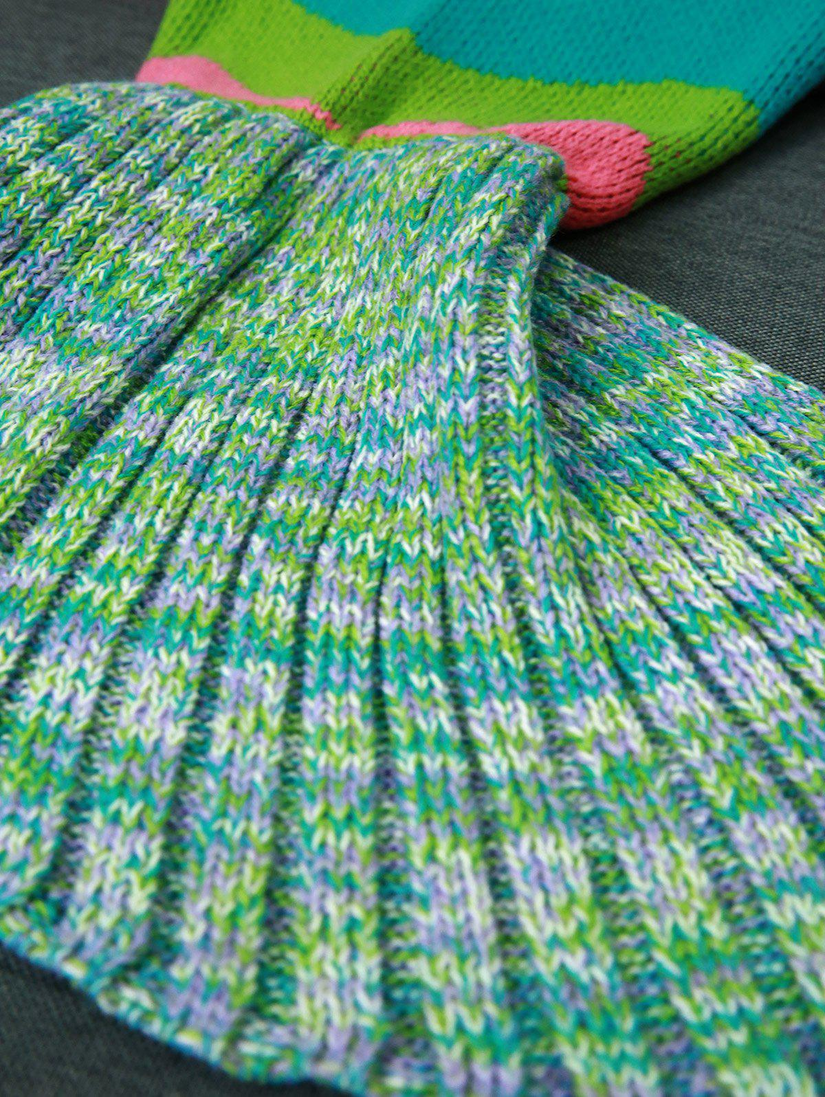 Knitting Colored Wave Stripes Design Mermaid Tail Blanket - COLORMIX