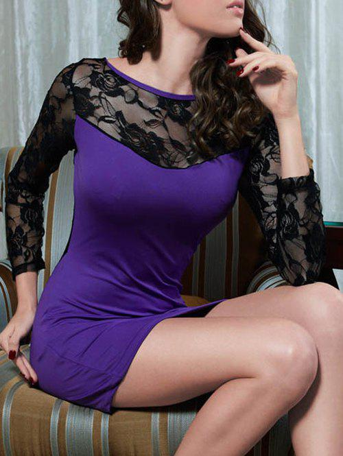 See-Through Lace Insert Mini Dress - PURPLE ONE SIZE