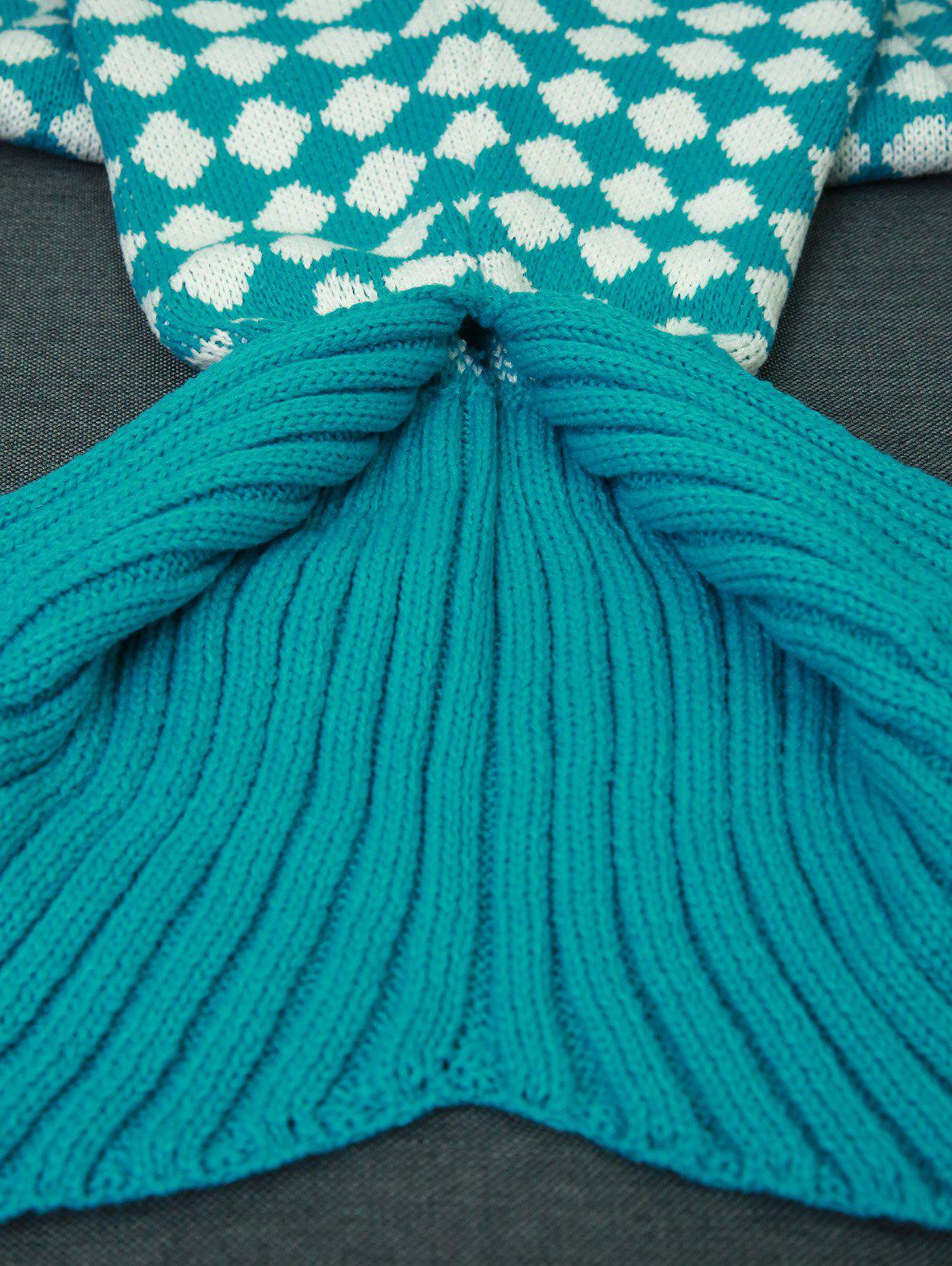 High Quality Inclined Plaid Pattern Knitted Mermaid Tail Blanket - LAKE BLUE