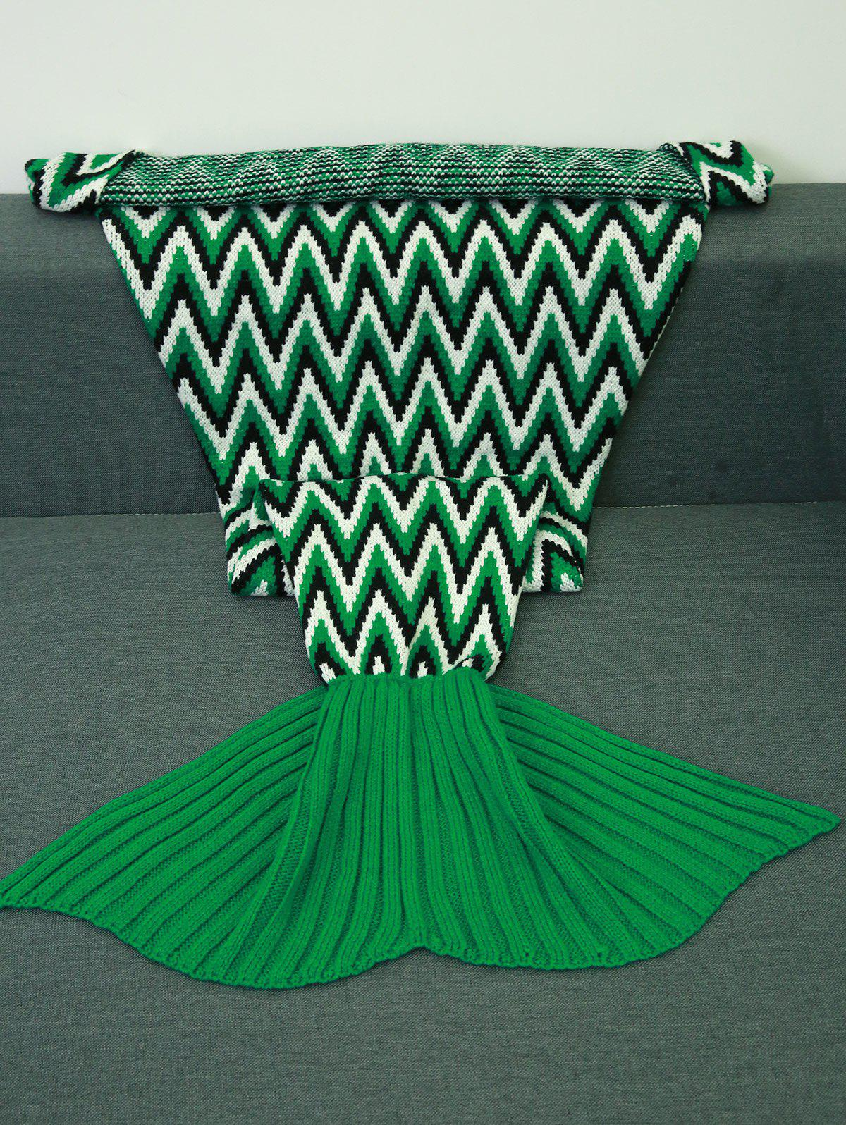 Warmth Geometric Jacquard Knitted Mermaid Tail Blanket - COLORMIX