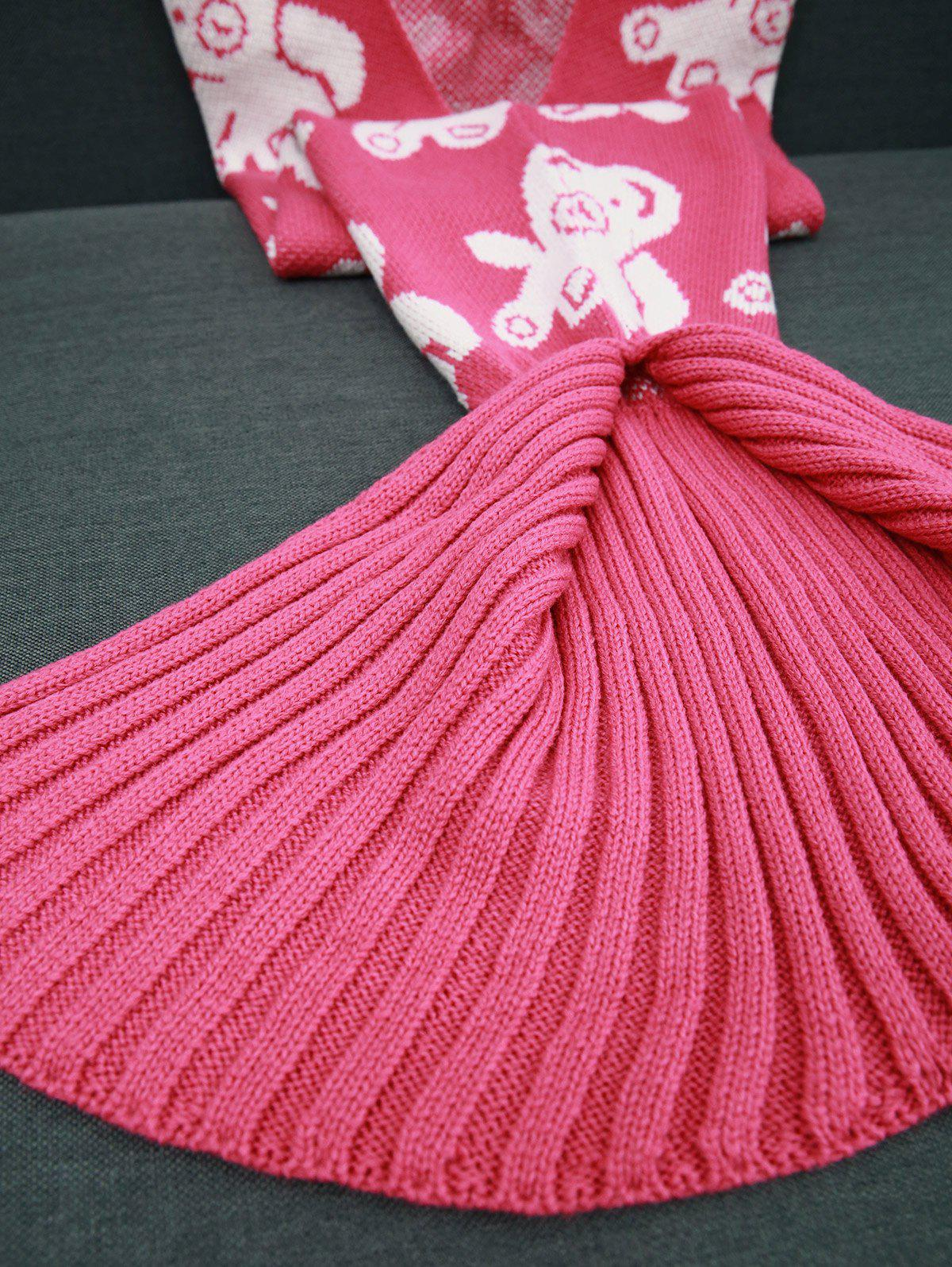 Warmth Acrylic Knitted Bear Pattern Mermaid Tail Blanket - ROSE RED