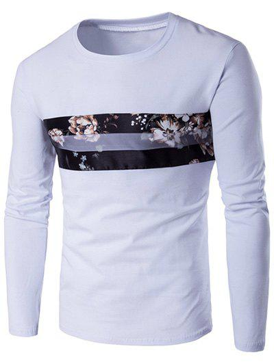 Round Neck Long Sleeve Floral Pattern T-Shirt - WHITE M