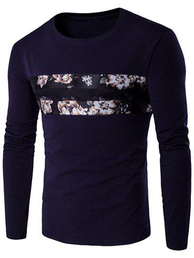 Round Neck Long Sleeve Floral Pattern T-Shirt - CADETBLUE M