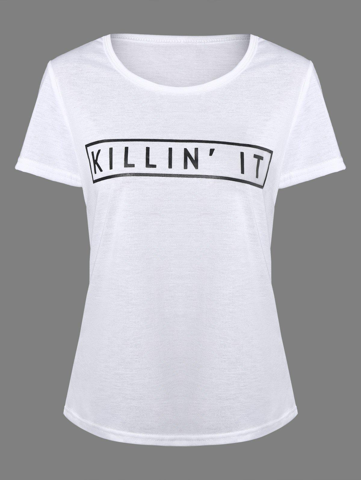 Letters Print Plain T-Shirt - WHITE XL