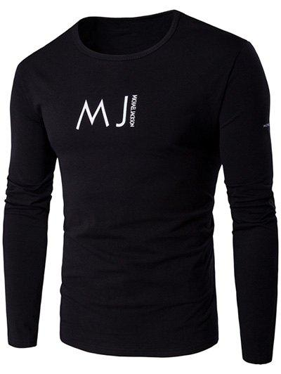 Round Neck Long Sleeve MJ Printed T-Shirt - BLACK M
