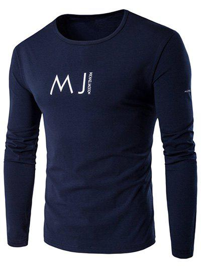 Round Neck Long Sleeve MJ Printed T-Shirt - CADETBLUE XL