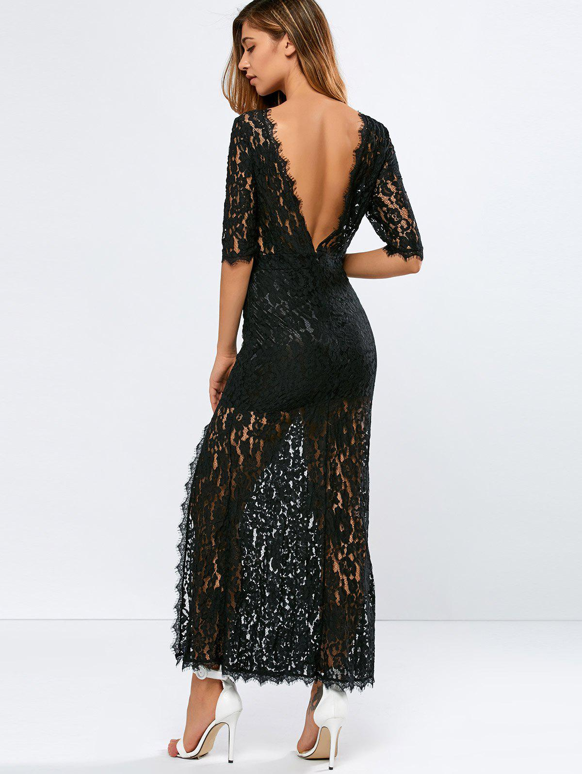 Lace Backless Slit Maxi See Through Evening Dress, Black